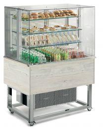 Afinox Essense White Oak Open Front 3 Tier Refrigerated Food Island