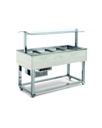 Afinox Essense White Oak Buffet Refrigerated Food Islands with static cold well.