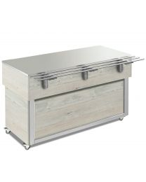 Afinox Tradition White Oak 3/1 Size Stainless Steel Top Food Island