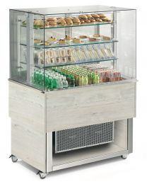Afinox Tradition White Oak Open Front 3 Tier Refrigerated Food Island