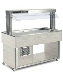 Afinox Tradition White Oak Buffet Static shallow well Refrigerated Food Island