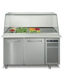 Afinox 2 Door Refrigerated saladette counter Glass Screen Surround