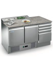 Afinox 2 Door 4 Drawer Salad and Pizza Prep Counter - Open Top
